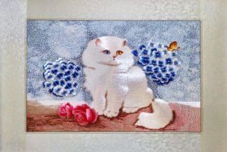 Вышивка шелком 52х77 «Белый кот» арт.В04