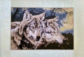 Вышивка шелком 48х71 «Волки» арт.В05