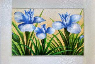 Вышивка шелком 51х75 «Голубые цветы» арт.В08