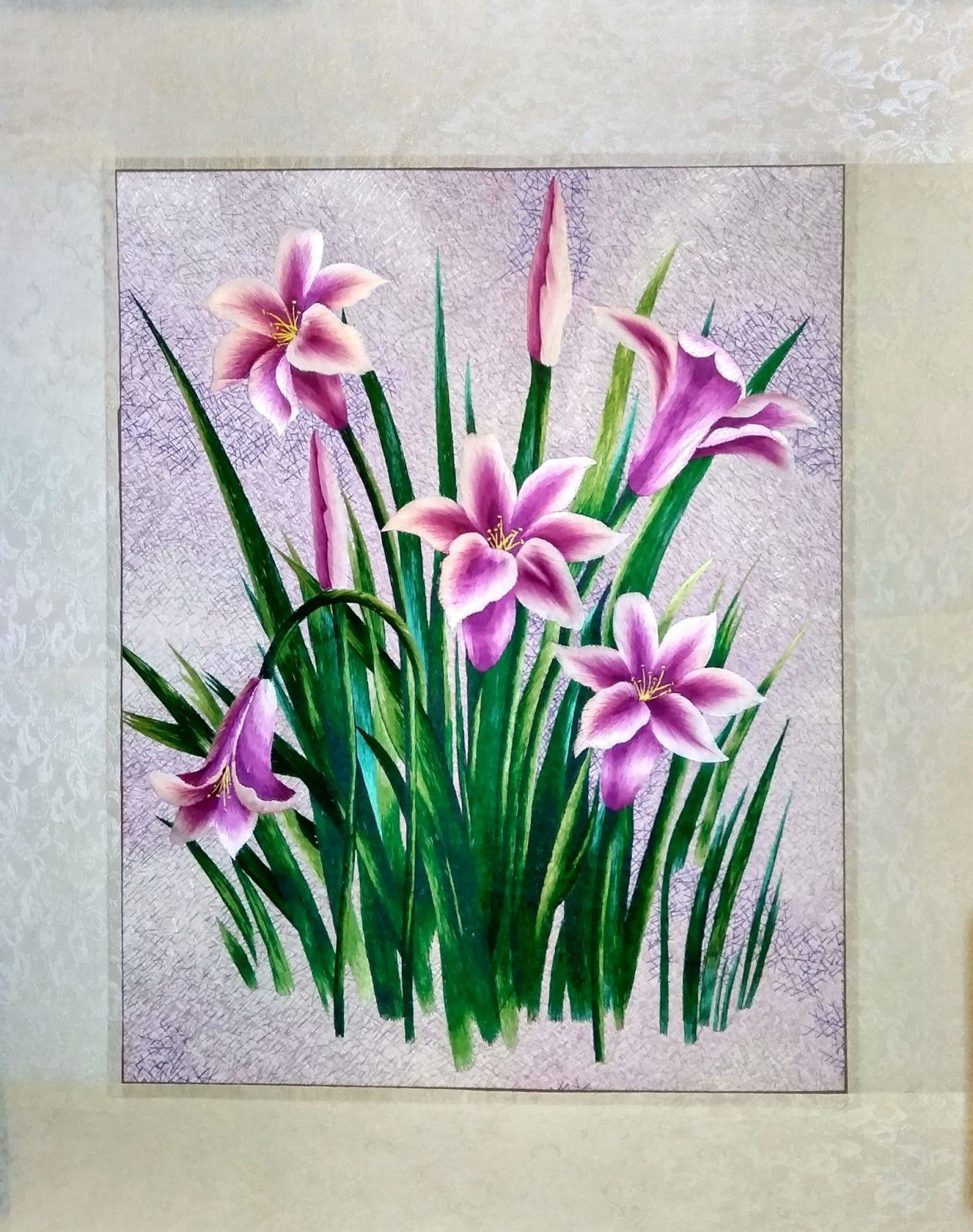 Вышивка шелком 52х66 «Полевые цветы» арт.В11