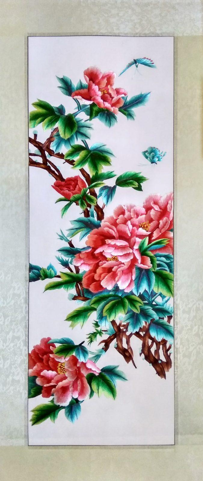 Вышивка шелком 42х96 «Цветущая ветка» арт.В13