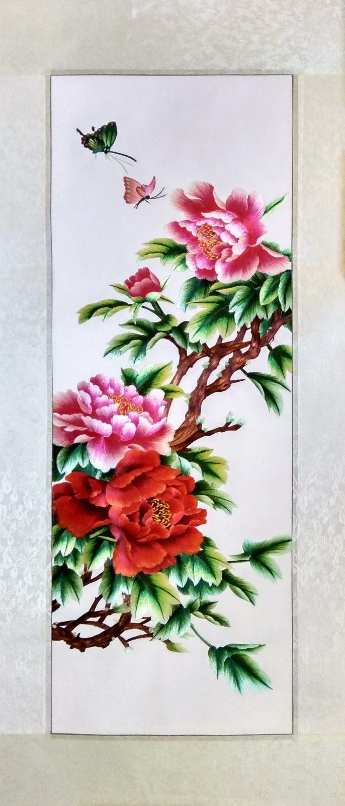 Вышивка шелком 42х96 «Цветущая ветка» арт.В16