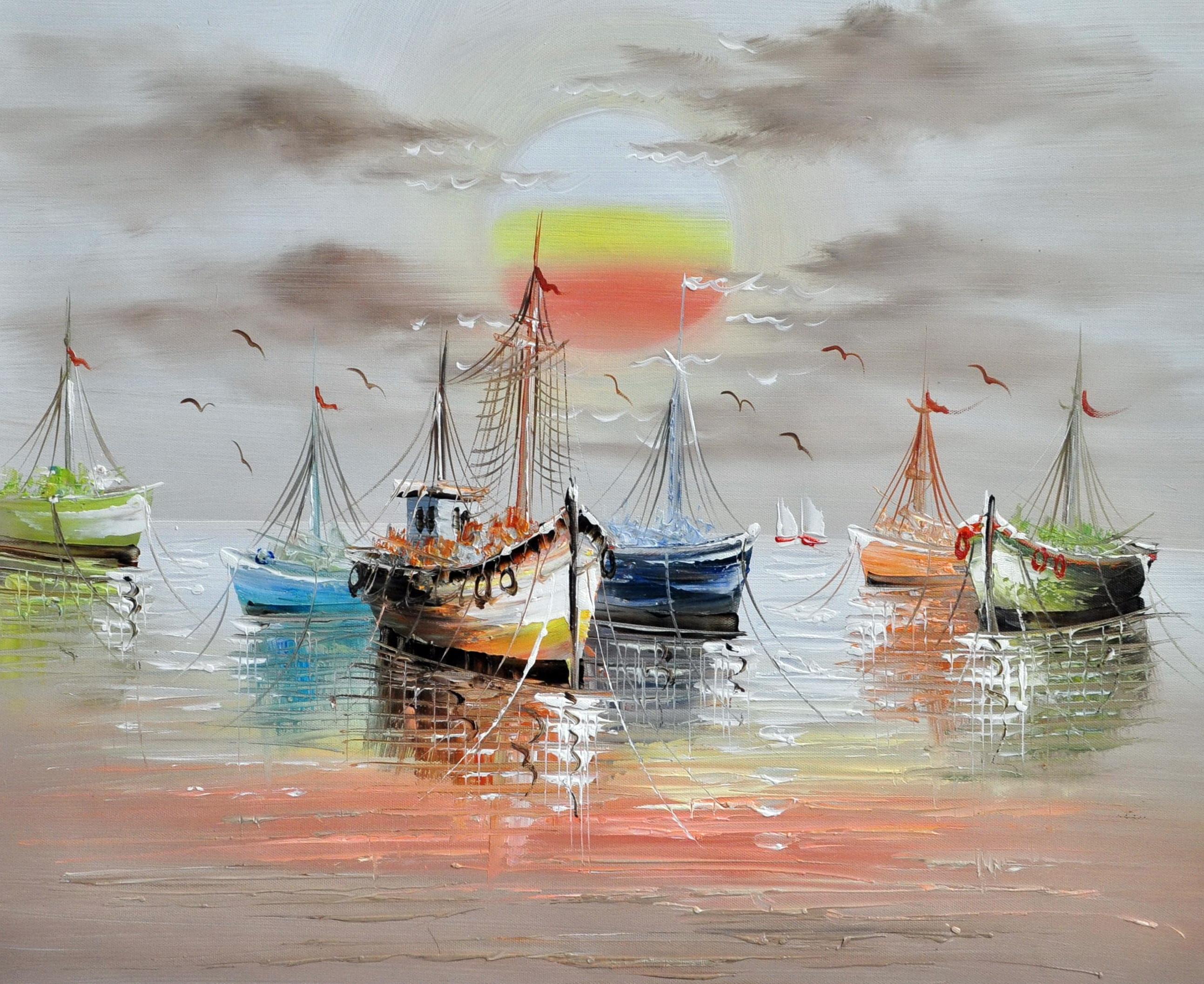 «Лодки на закате» картина 50х60 арт.5Л060