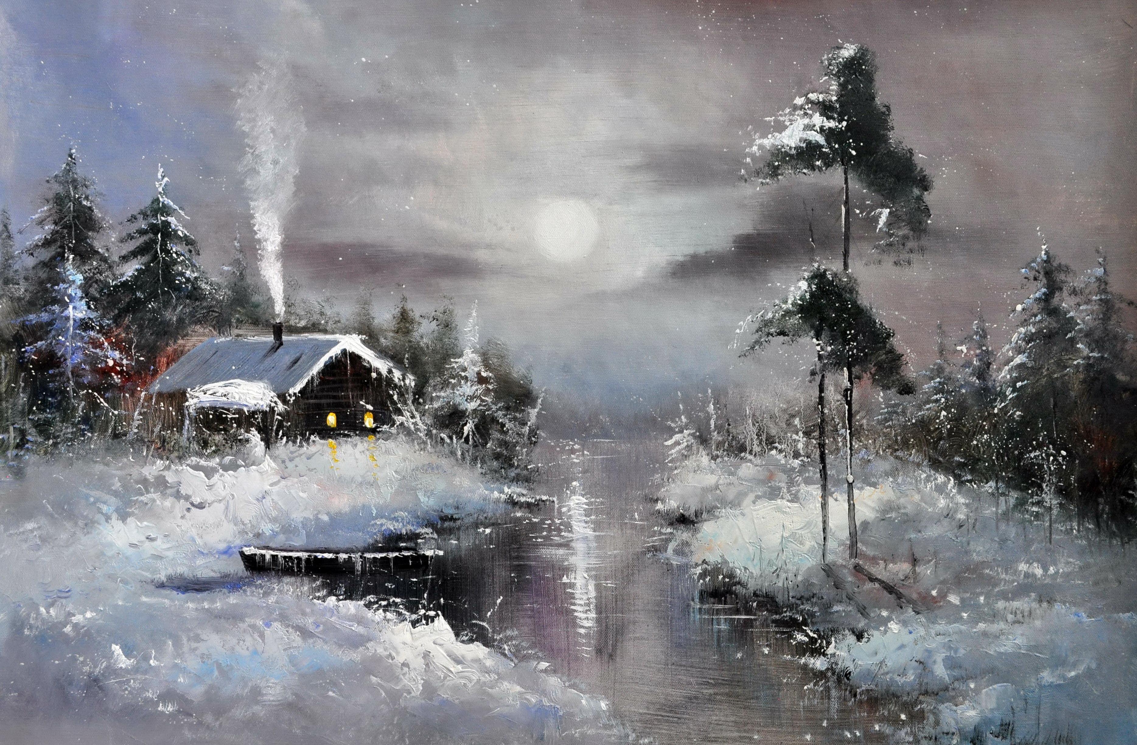 «Зимний пейзаж» картина 60х90 арт.9П041