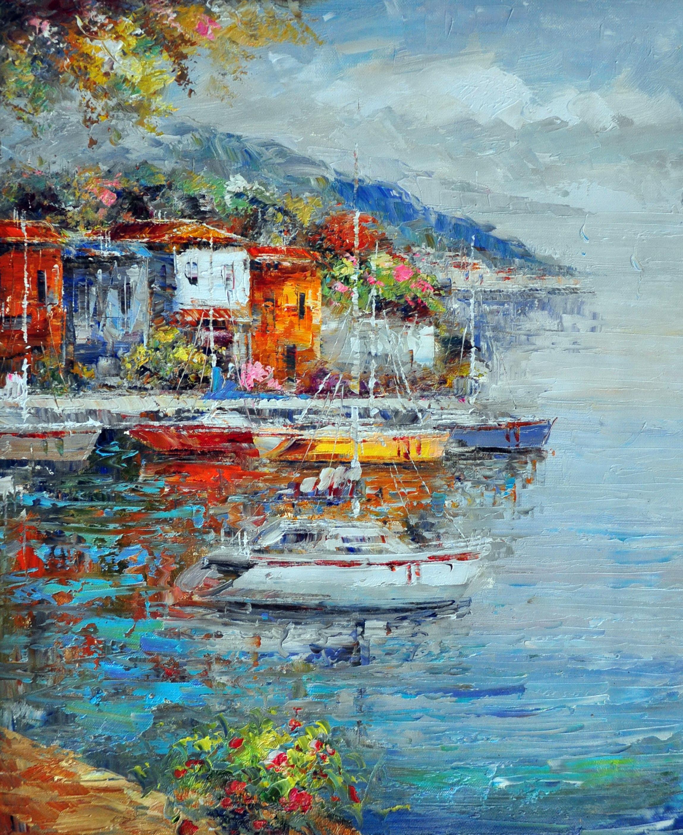 «Яхты в гавани» картина 50х60 арт.5С042