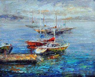 «Яхты в гавани» картина 50х60 арт.5С048