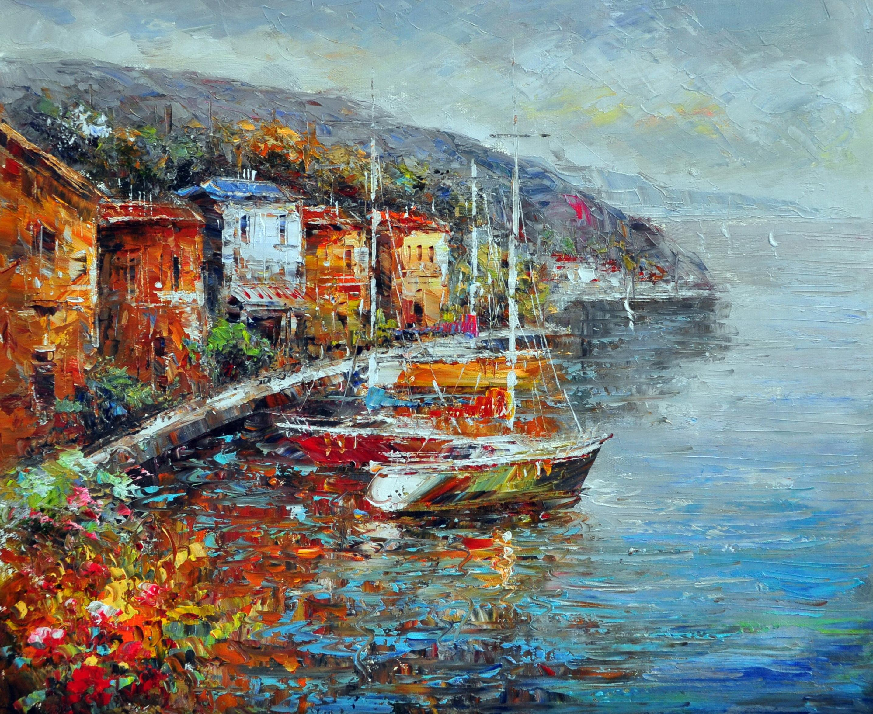 «Яхты в гавани» картина 50х60 арт.5С049
