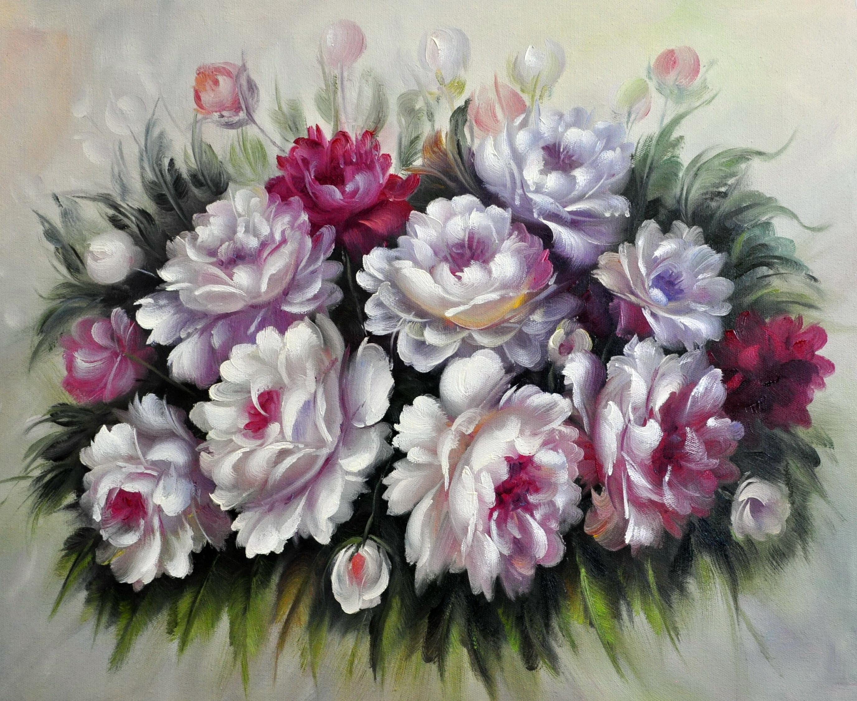 «Пионы»картина  50х60 арт.5Ц185