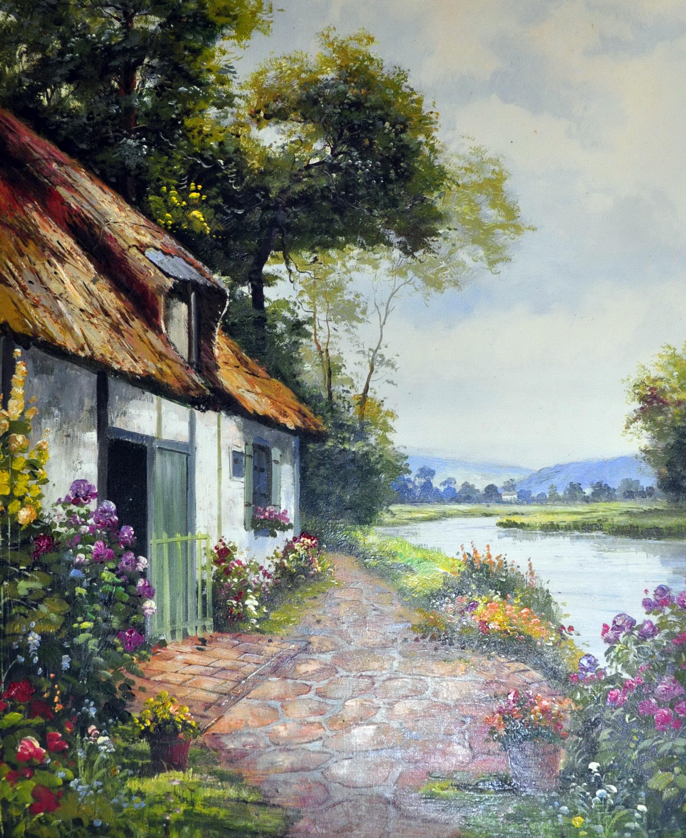«Дом у реки» картина  50х60 арт.5П088