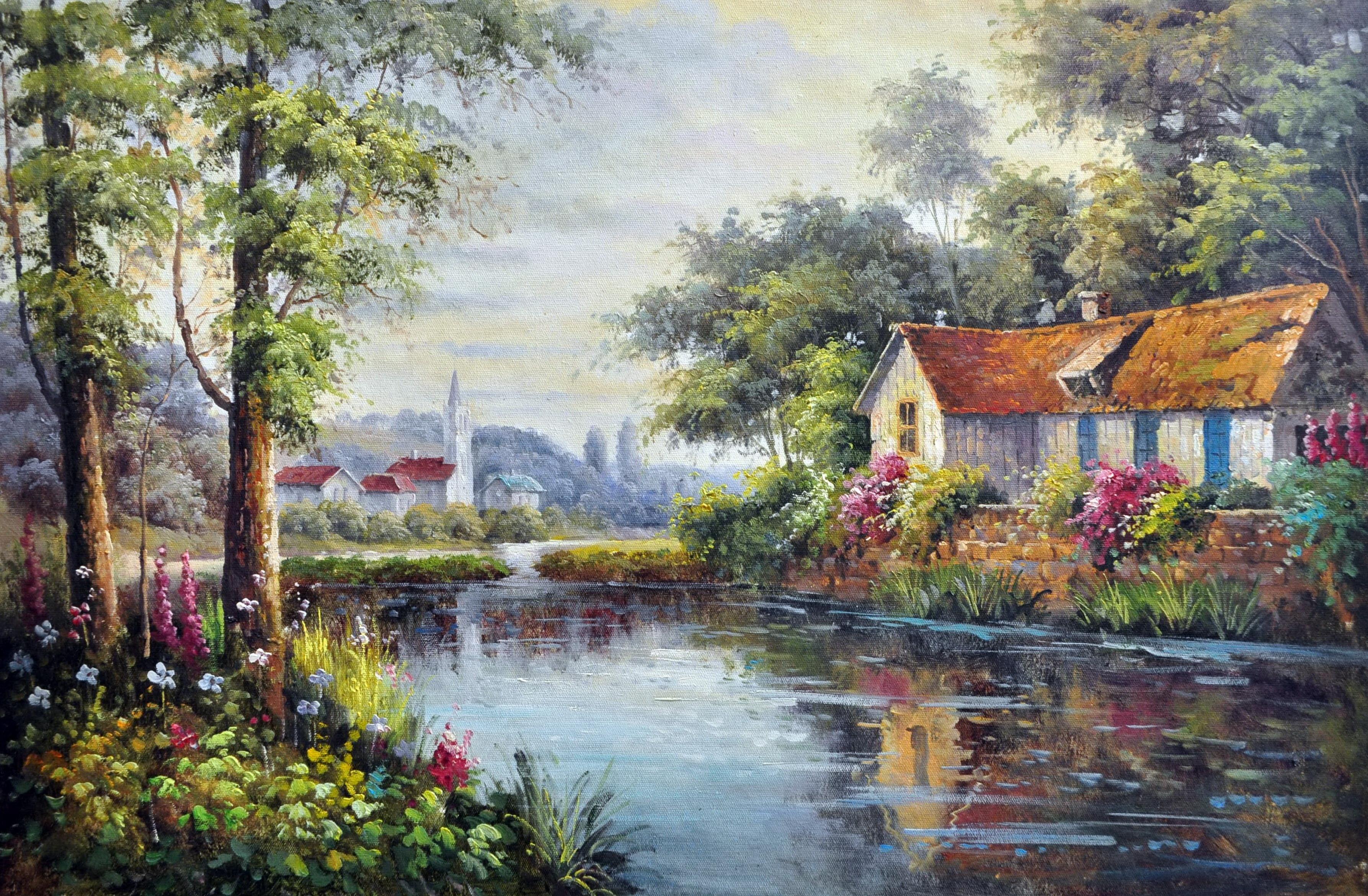 «Дом на реке» картина  60х90 арт.9П051