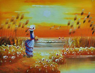 «Девушка у моря» картина  30х40 арт.3Р057
