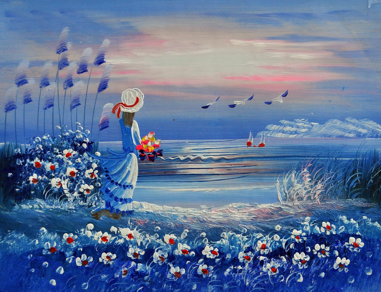 «Девушка у моря» картина  30х40 арт.3Р058