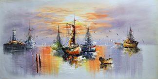 «Лодки у причала» картина  60х120 арт.Б073