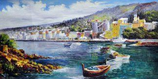«Город у моря» картина  60х120 арт.Б081