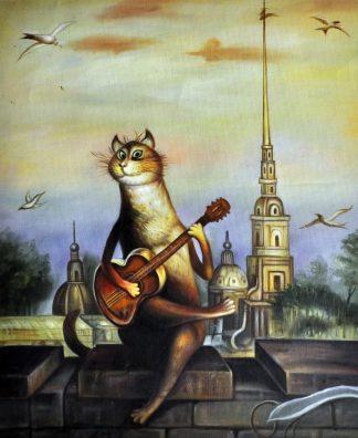 «Кот на крыше» картина  50х60 арт.5А064