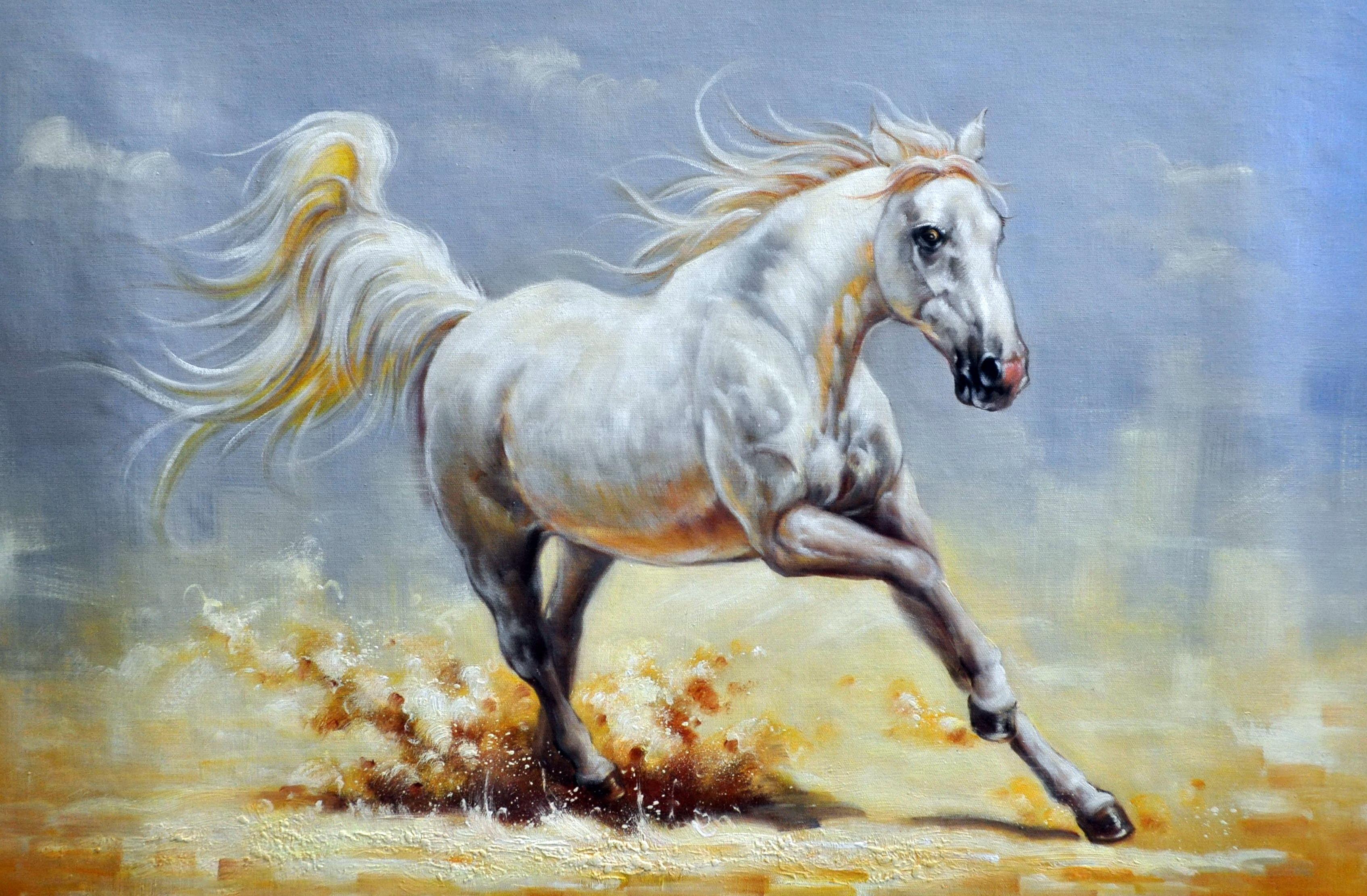 «Белая лошадь» картина  60х90 арт.9А021