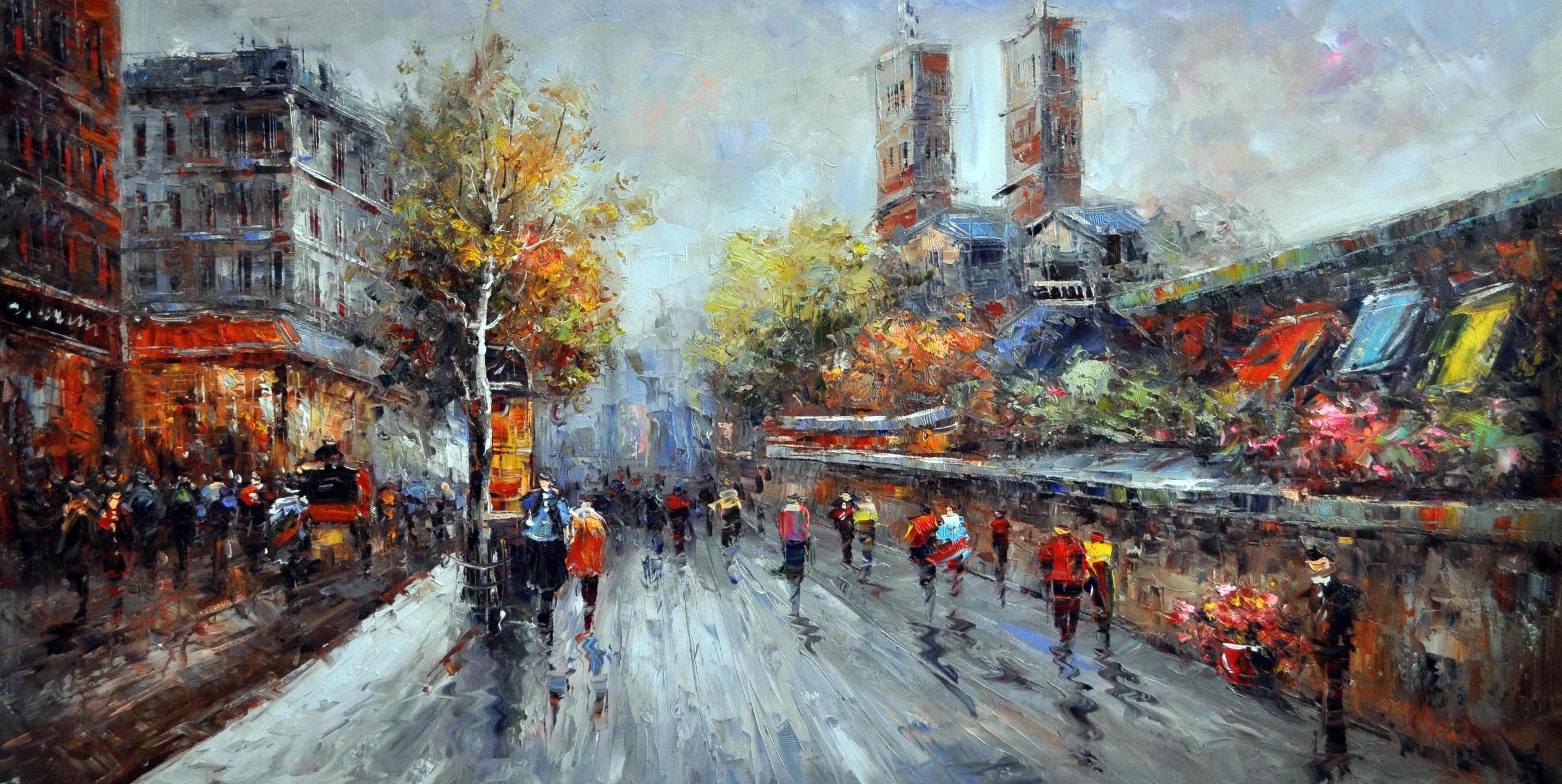«Городская улица» картина  60х120 арт.Б090