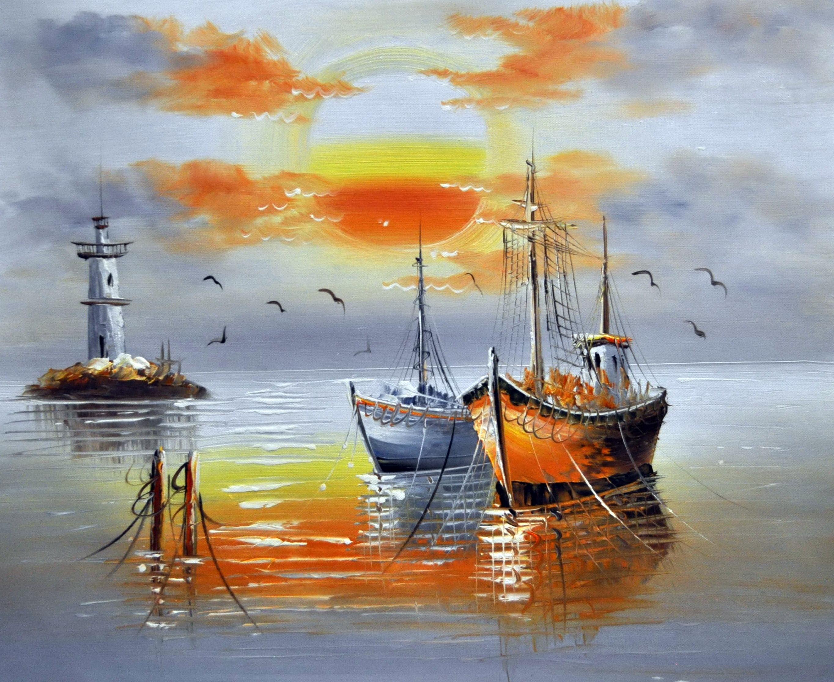 «Лодки и маяк» картина  50х60 арт.5Л080