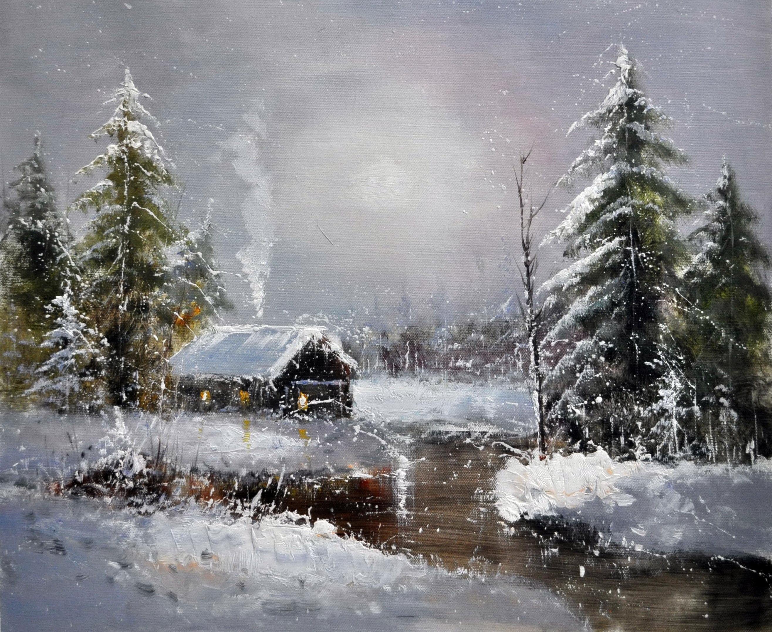 «Домик в зимнем лесу» картина  50х60 арт.5П106