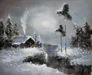 «Домик в зимнем лесу» картина  50х60 арт.5П109