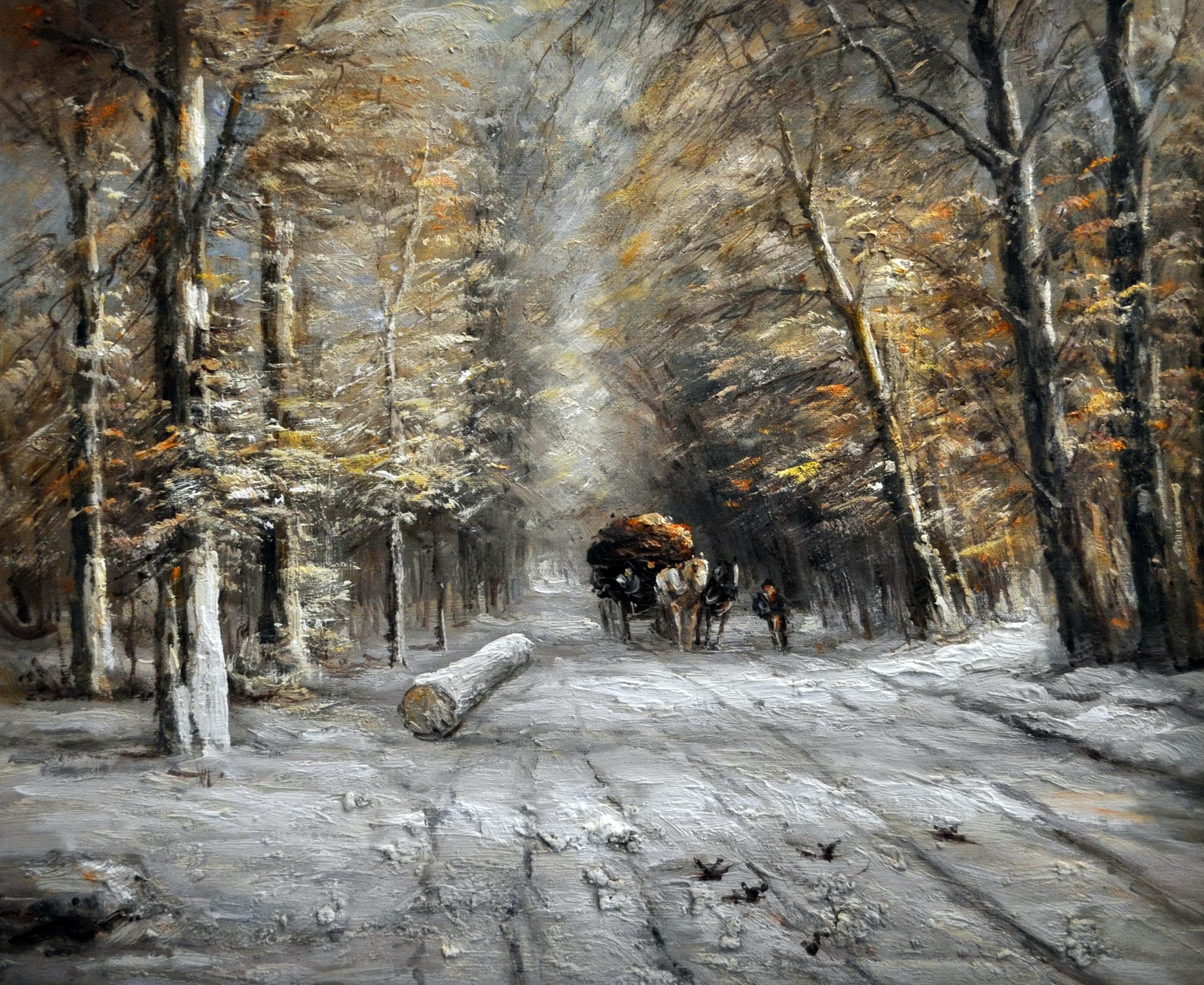 «На зимней дороге» картина  50х60 арт.5П114