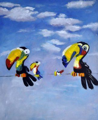 «Весёлые птицы» картина  50х60 арт.5А070