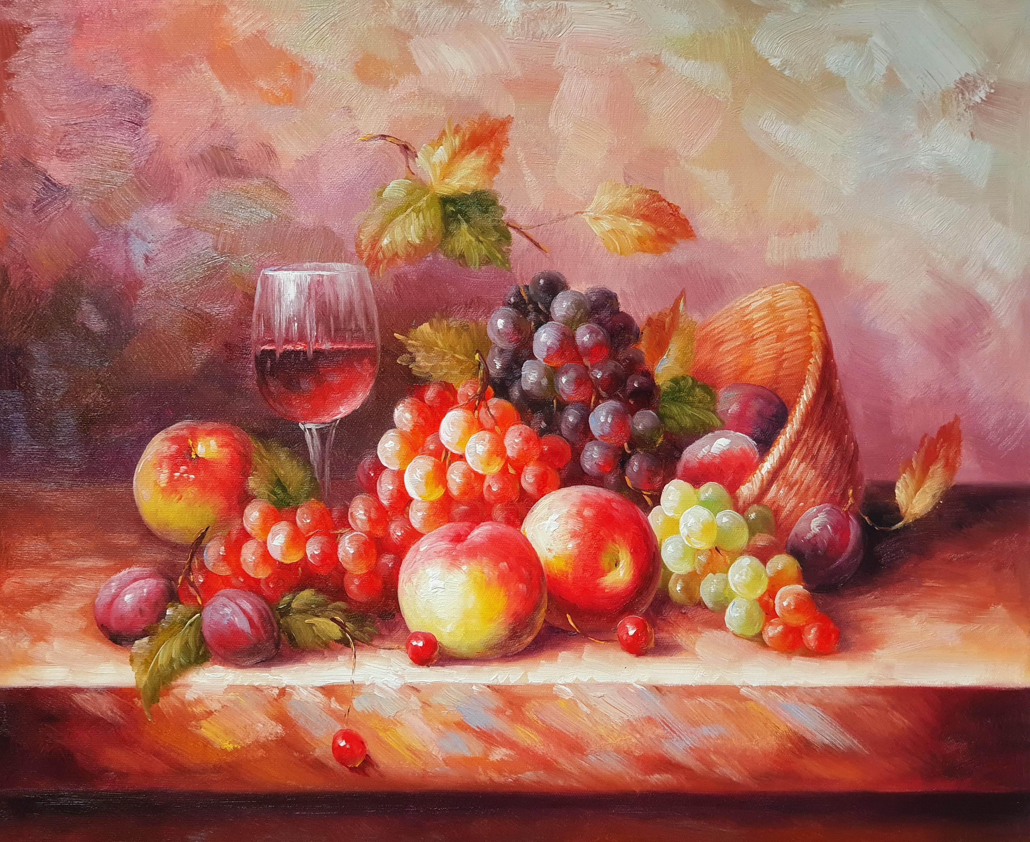 Натюрморт «Виноград и персики» картина 50х60 арт. 5Ц192