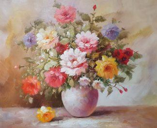 «Лучистые розы в вазе» картина 50х60 арт. 5Ц206