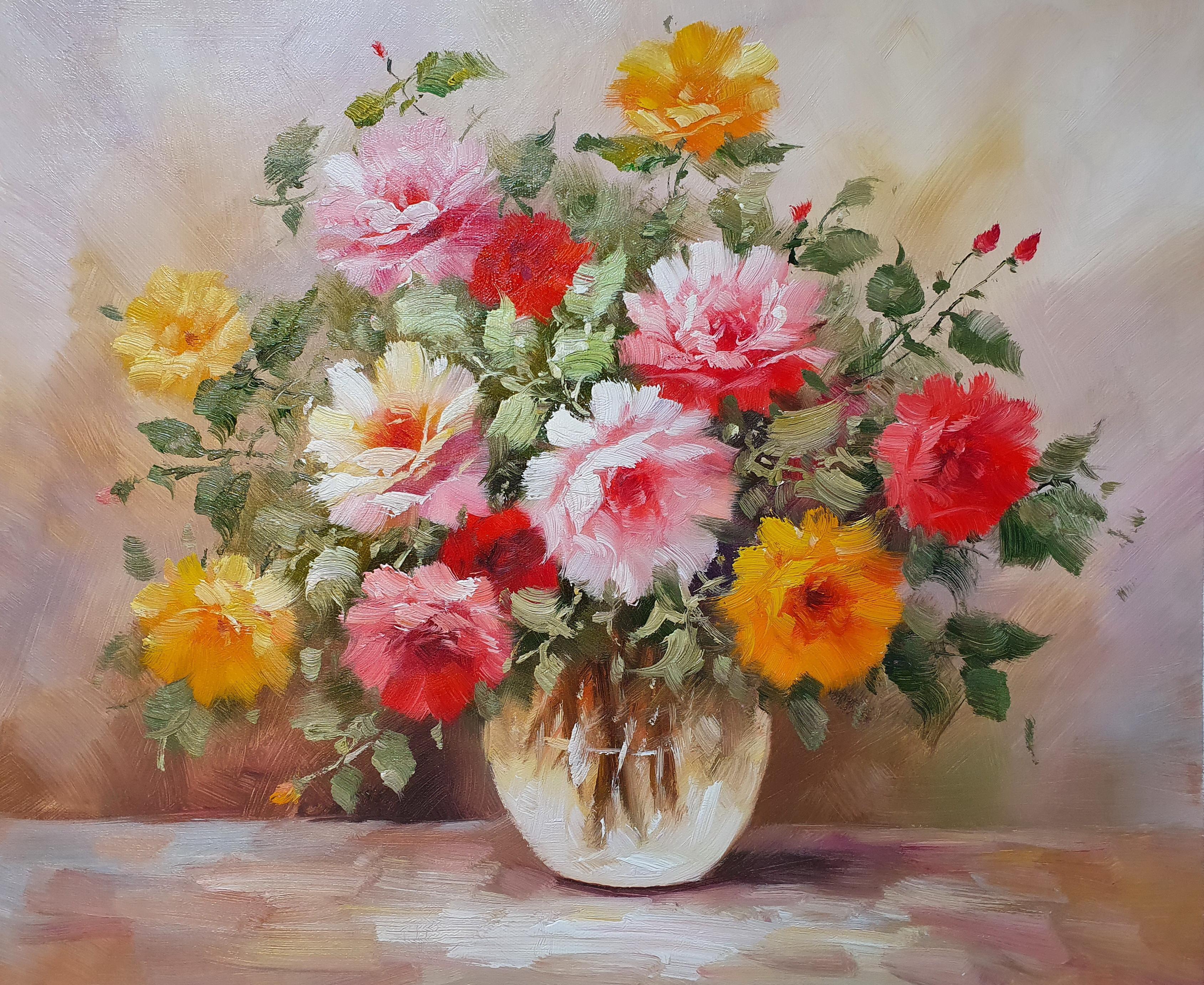 «Розы в вазе» картина 50х60 арт. 5Ц211