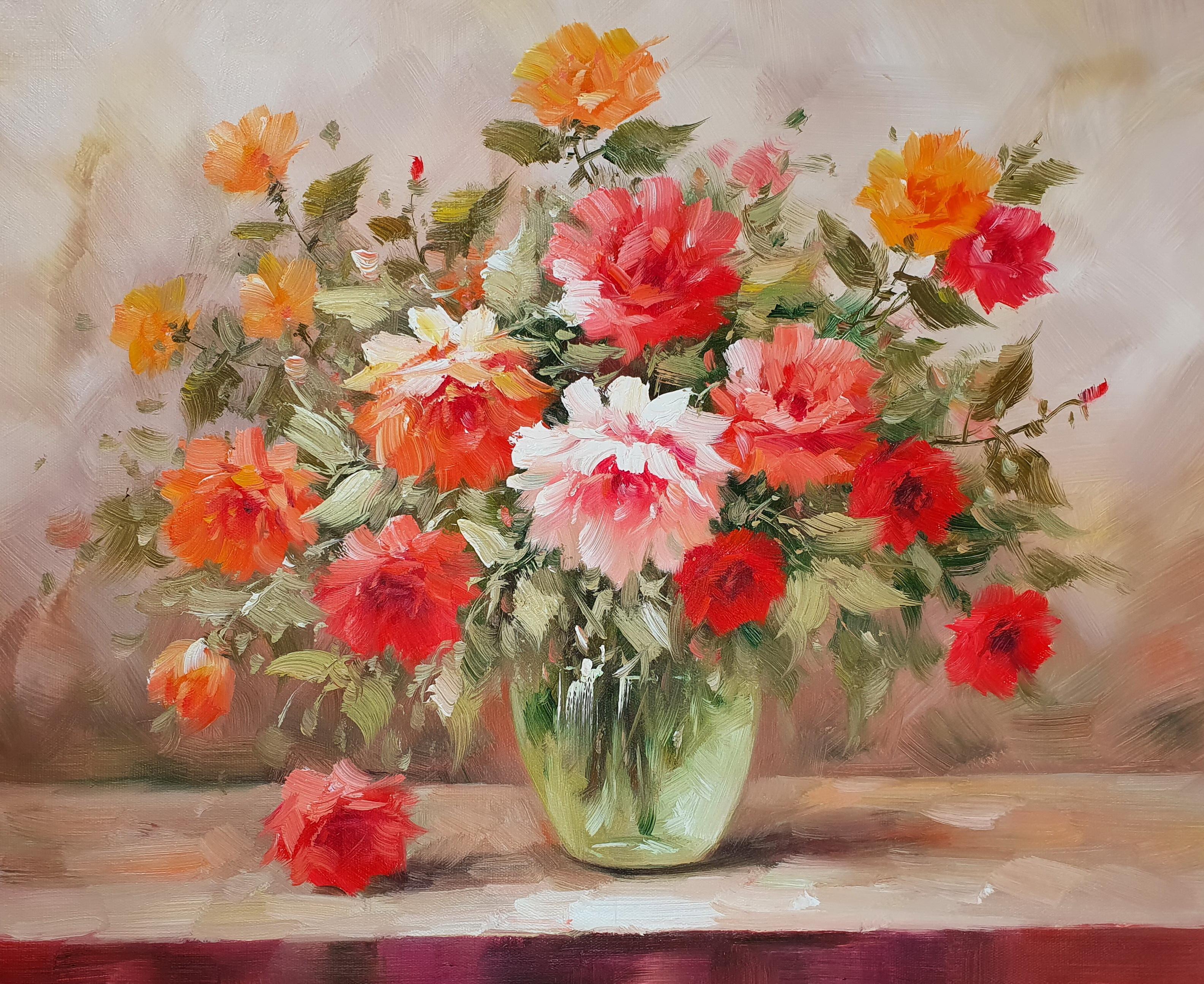«Розовые розы в вазе» картина 50х60 арт. 5Ц219