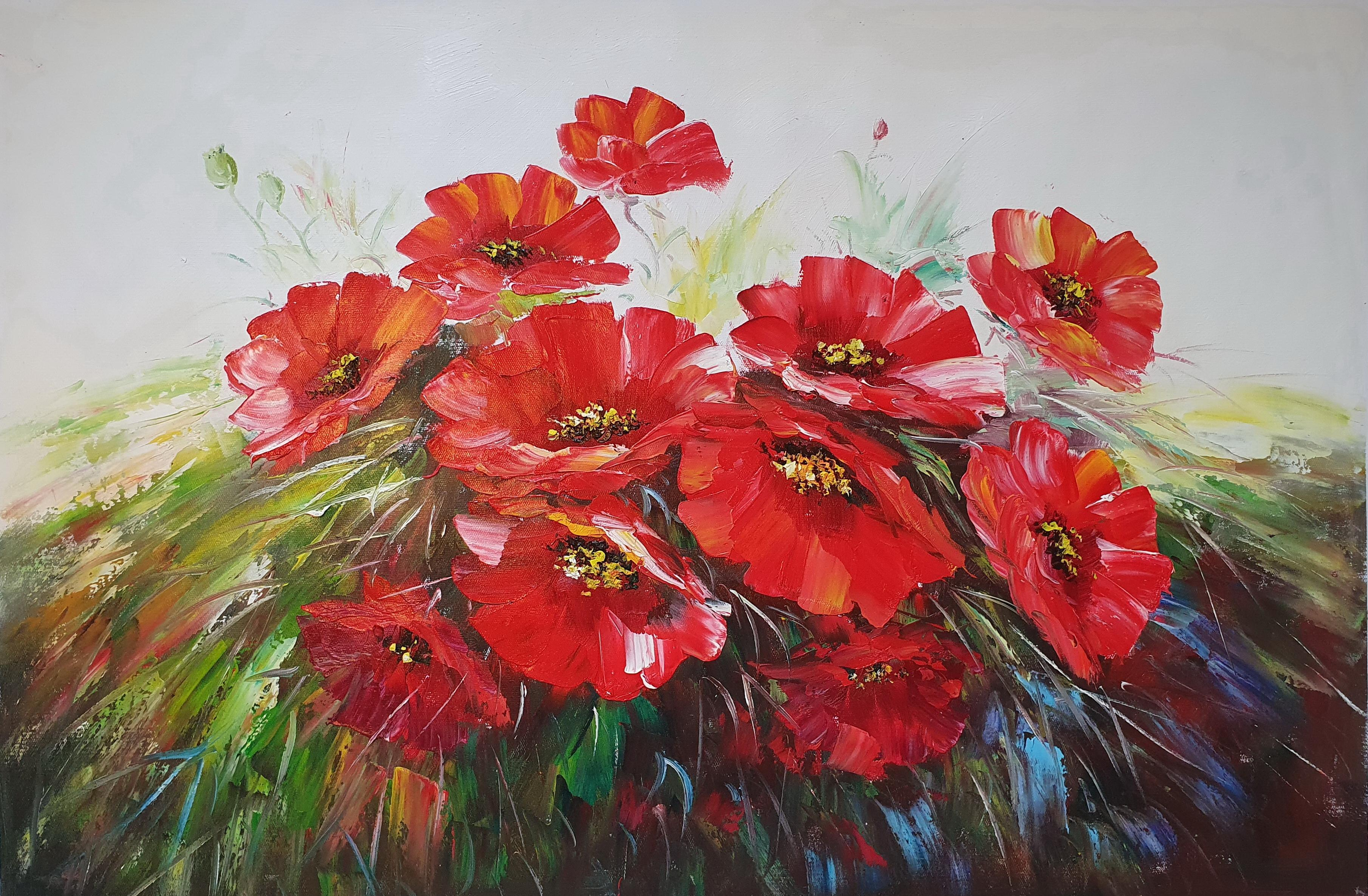 «Красные маки» картина 60х90 арт. 9Ц069