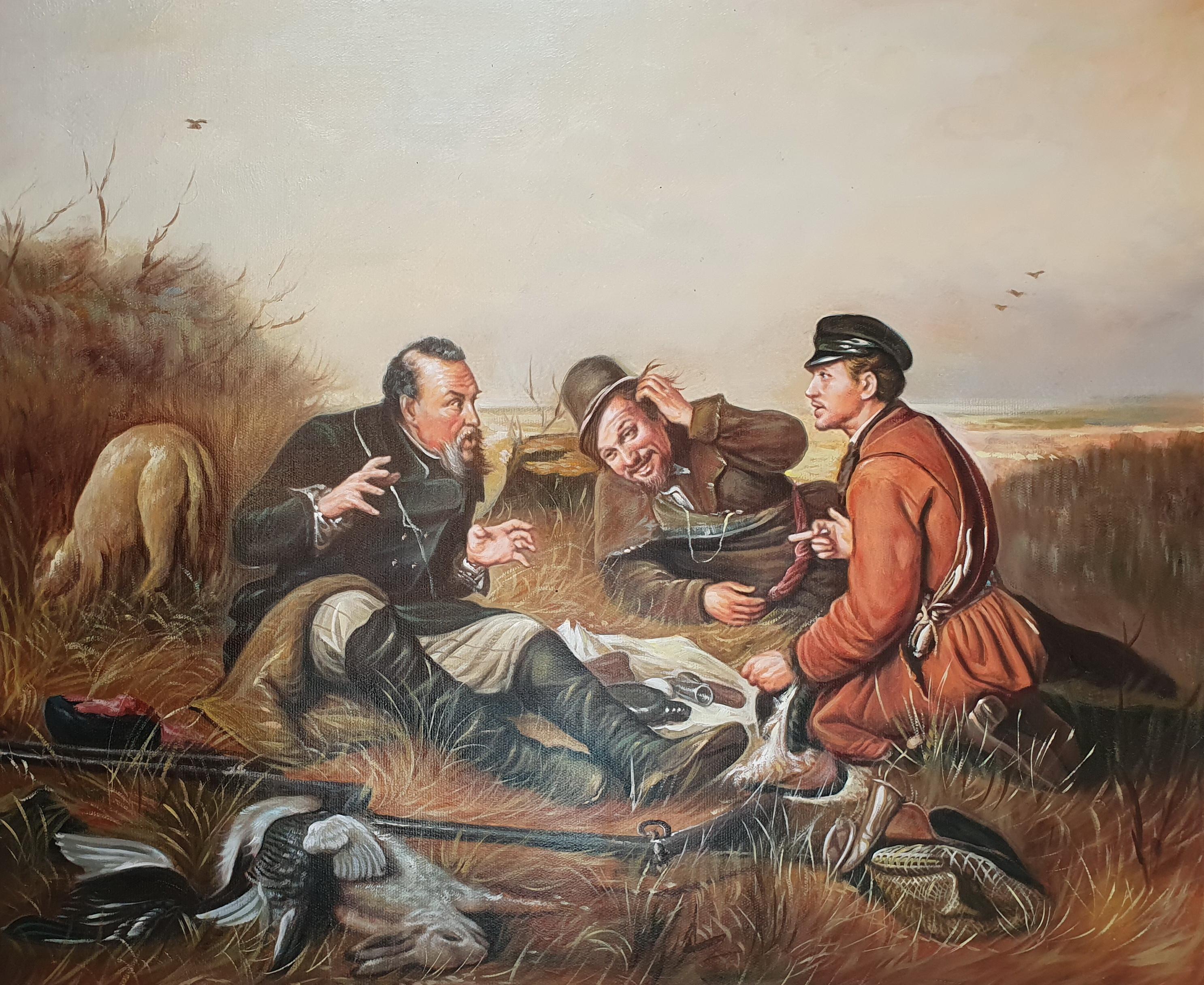 «Охотники на привале» картина 50х60 арт.5р090