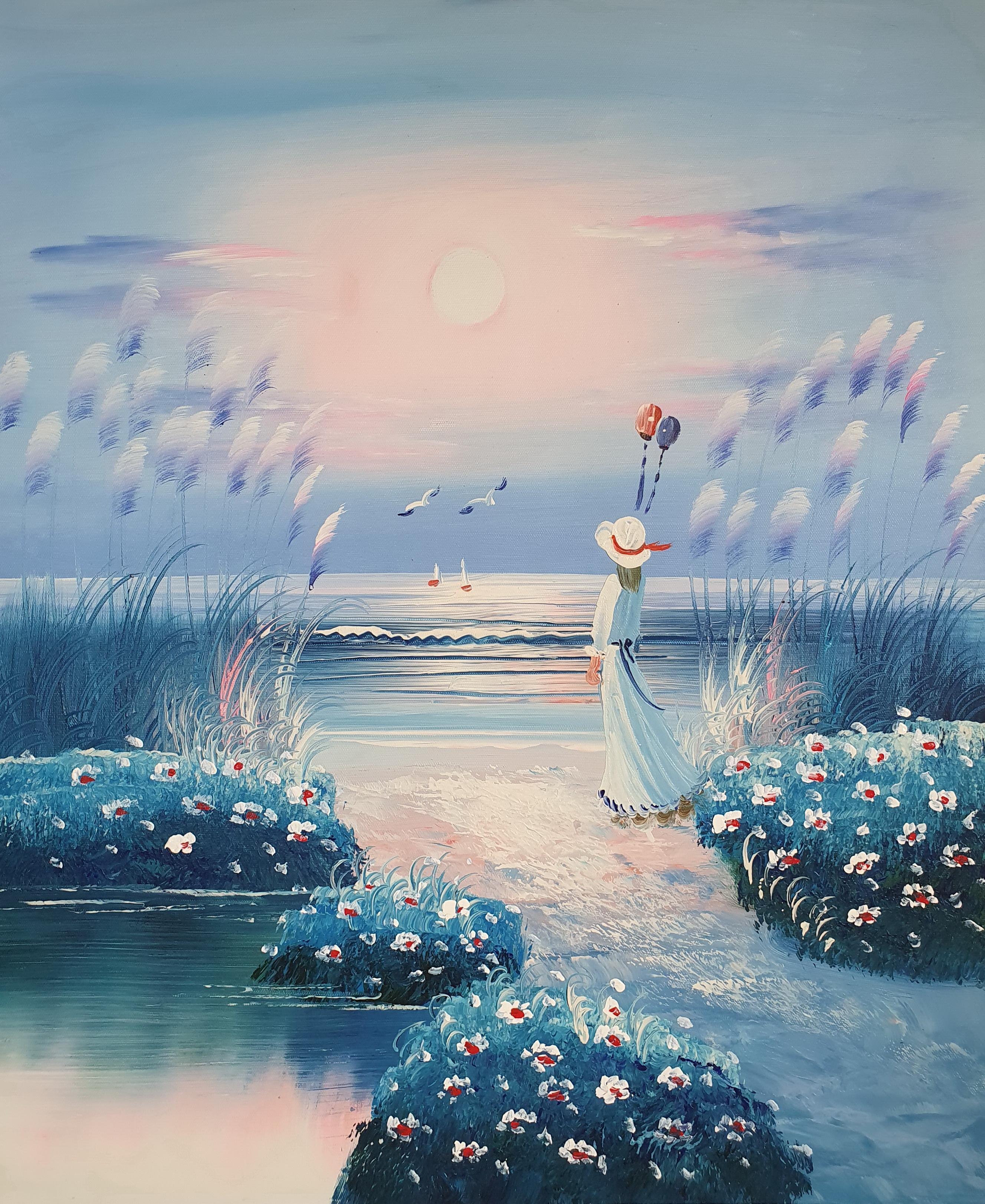 «Девушка у моря» картина 50х60 арт.5р116