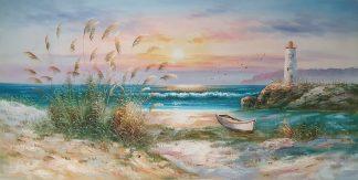 «Морской пейзаж с маяком» картина  60х120 арт.Б103