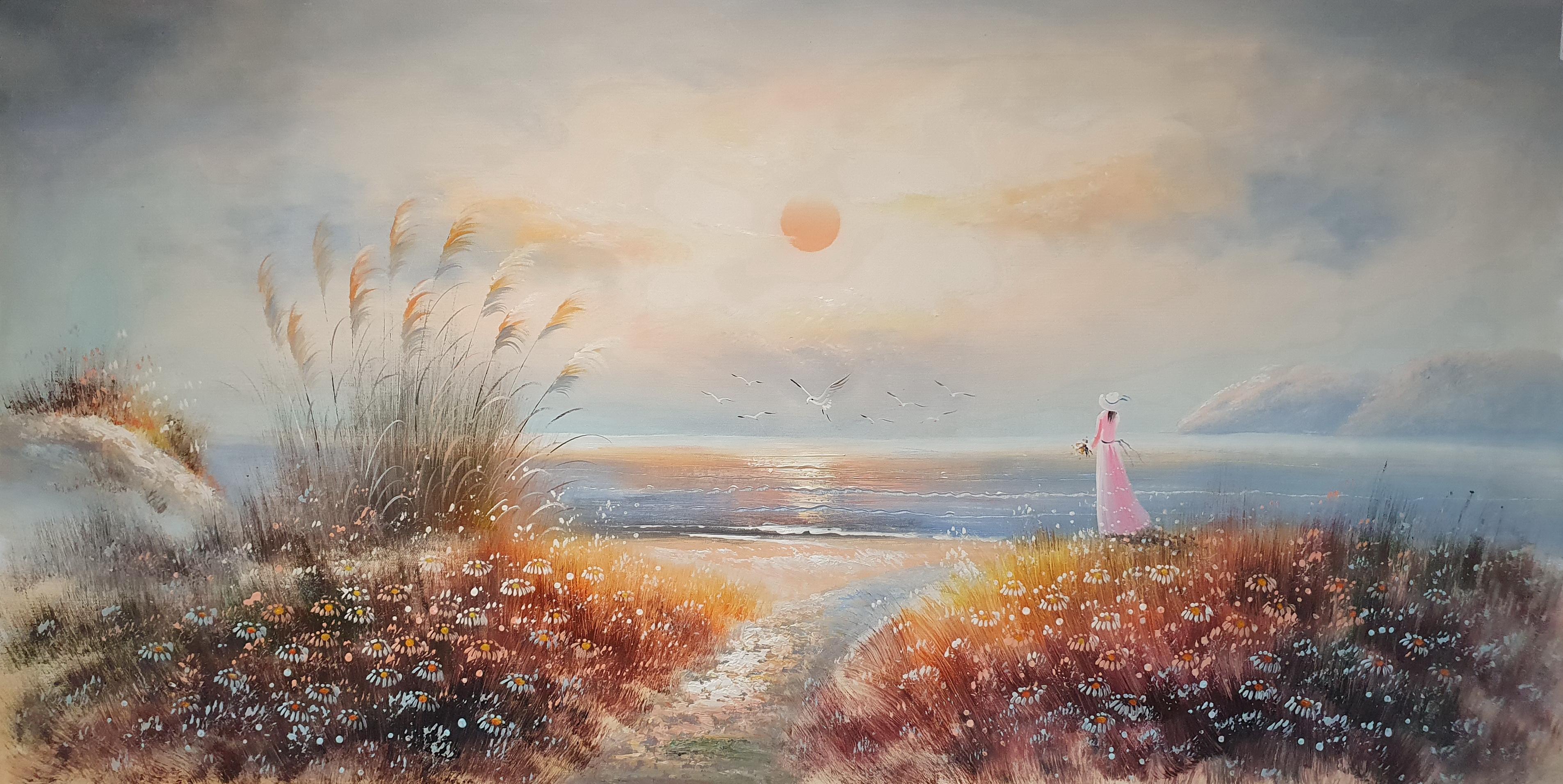 «Девушка у моря» картина  60х120 арт.Б105