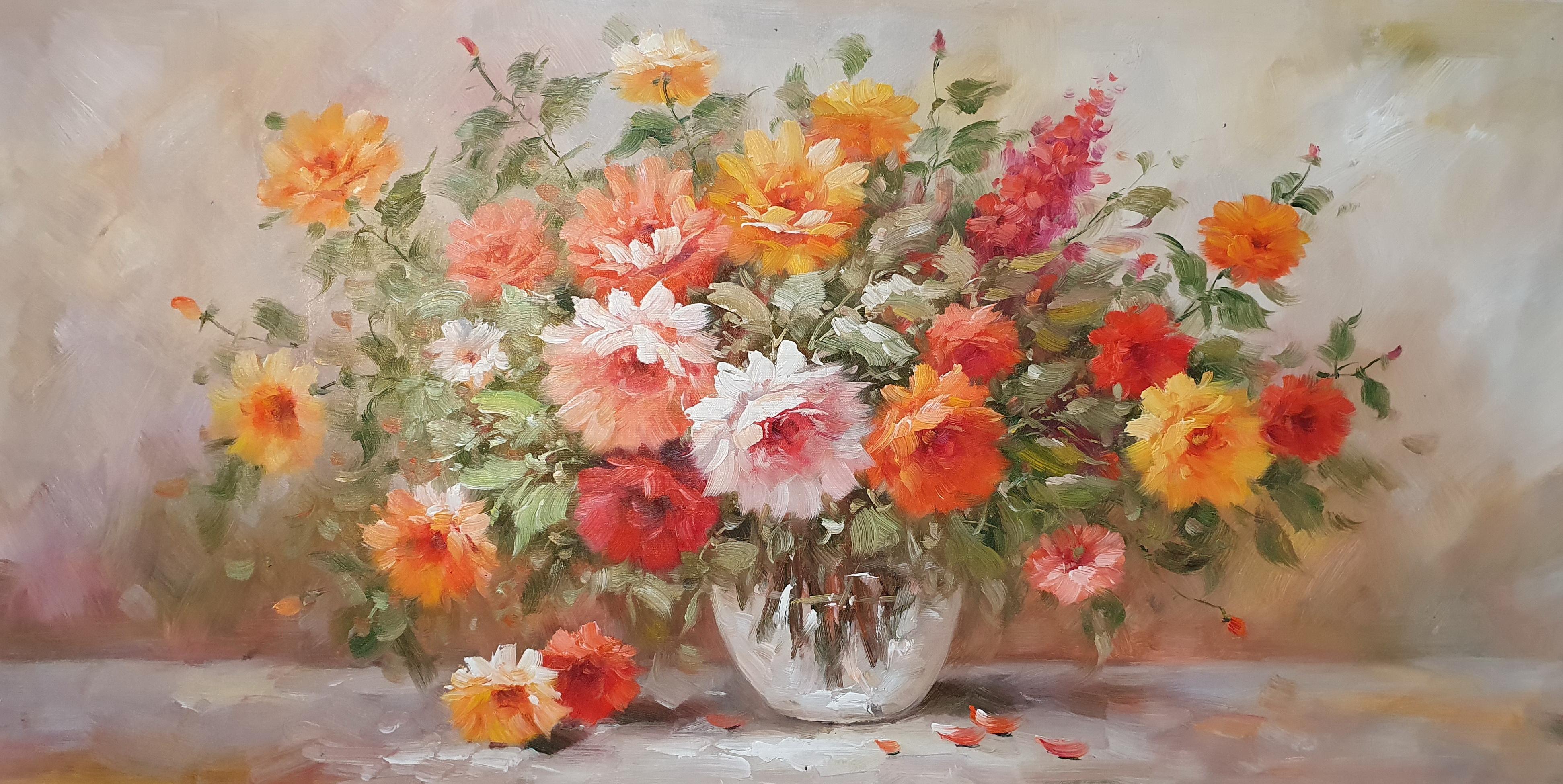 «Розы в Вазе» картина  60х120 арт.Б110
