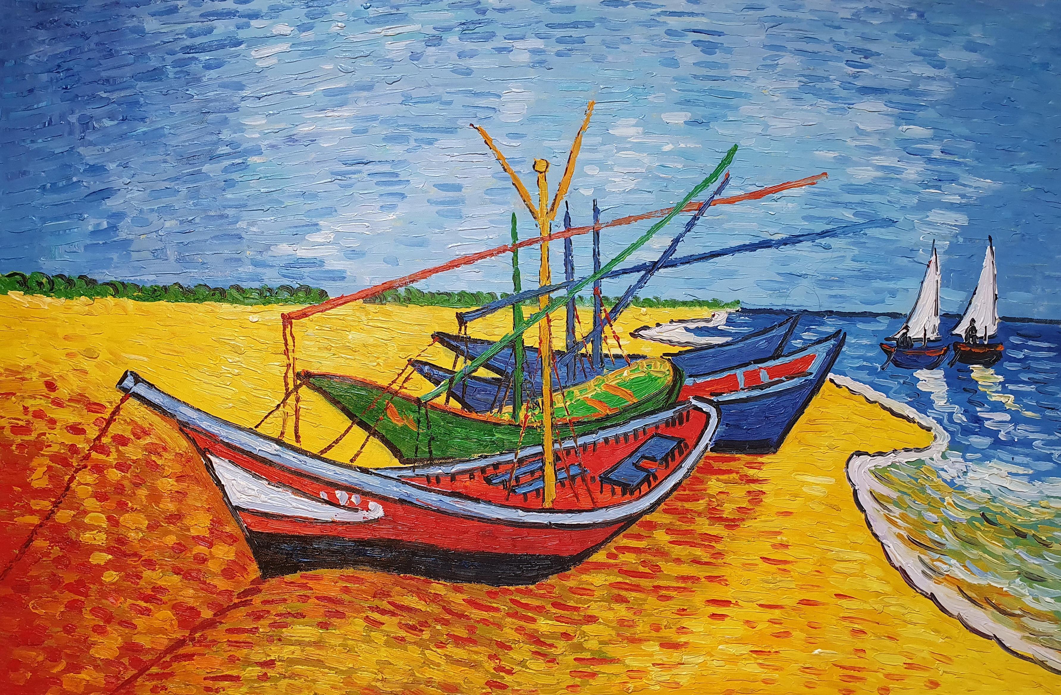 «Лодки в Сент-Мари Ван Гога» картина 60х90 арт.9р047