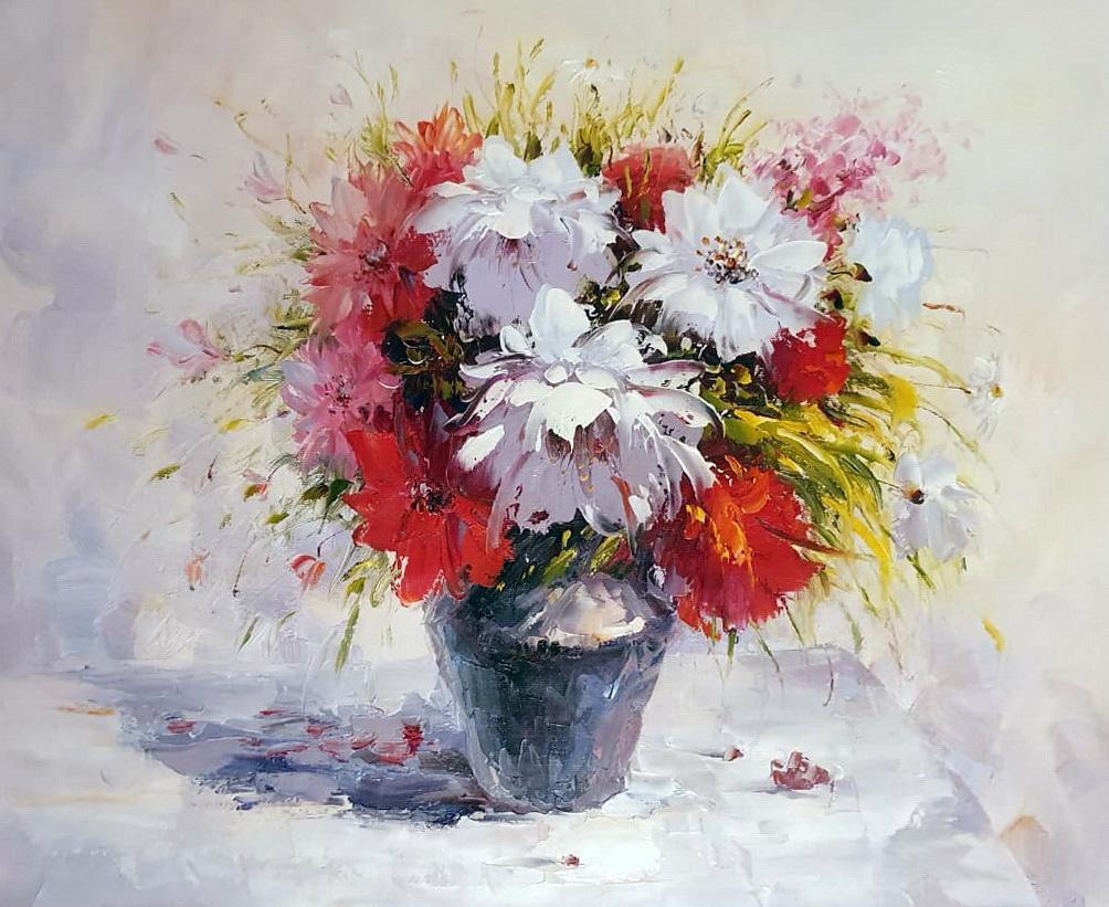 «Георгины на столе» картина 50х60 арт.5Ц227
