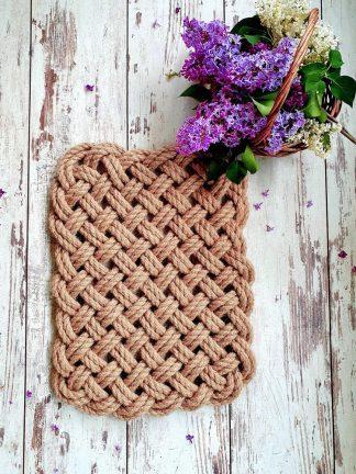 Коврик ручной работы из джута плетеный 2 нити
