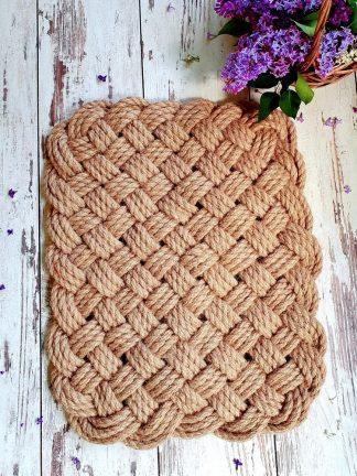 Коврик ручной работы из джута плетеный 3 нити