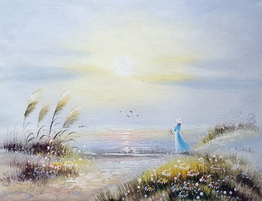 «Девушка у моря» картина 30х40 арт.3Р077