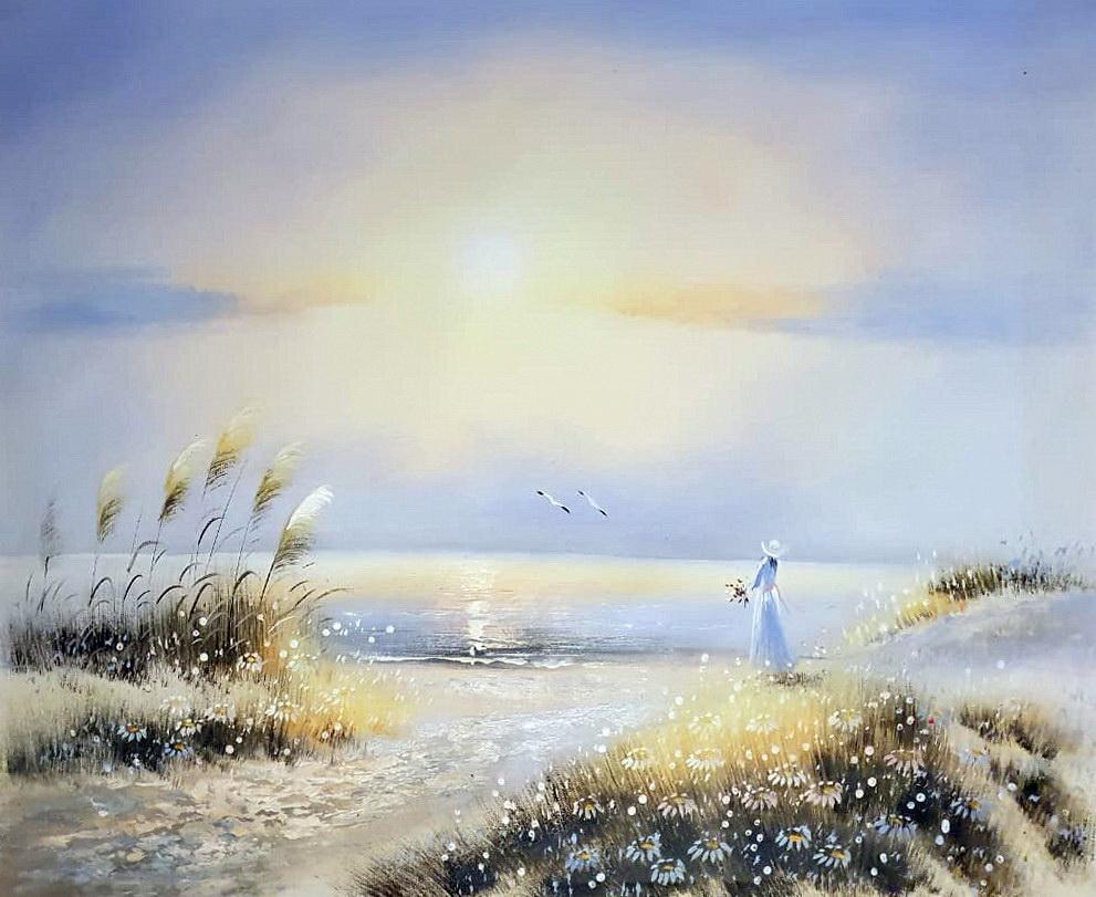 «Девушка у моря» картина 50х60 арт.5Р099