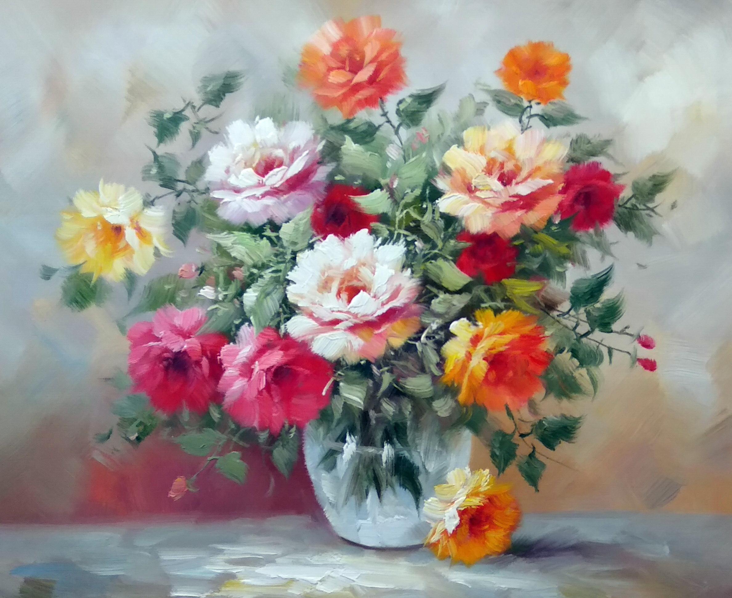 «Розы в вазе» Картина 50х60 арт. Ц264