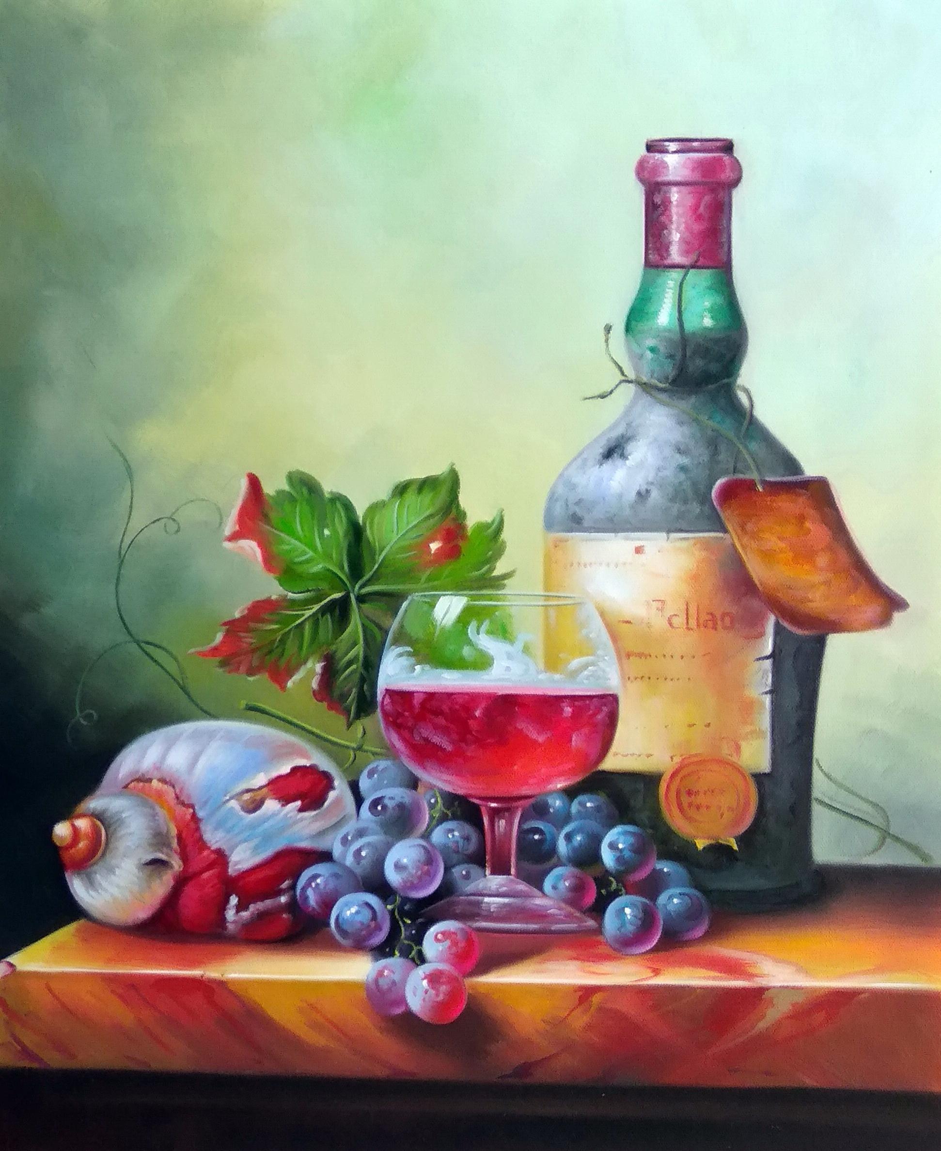 «Натюрморт с вином» Картина 50х60 арт. Ц269