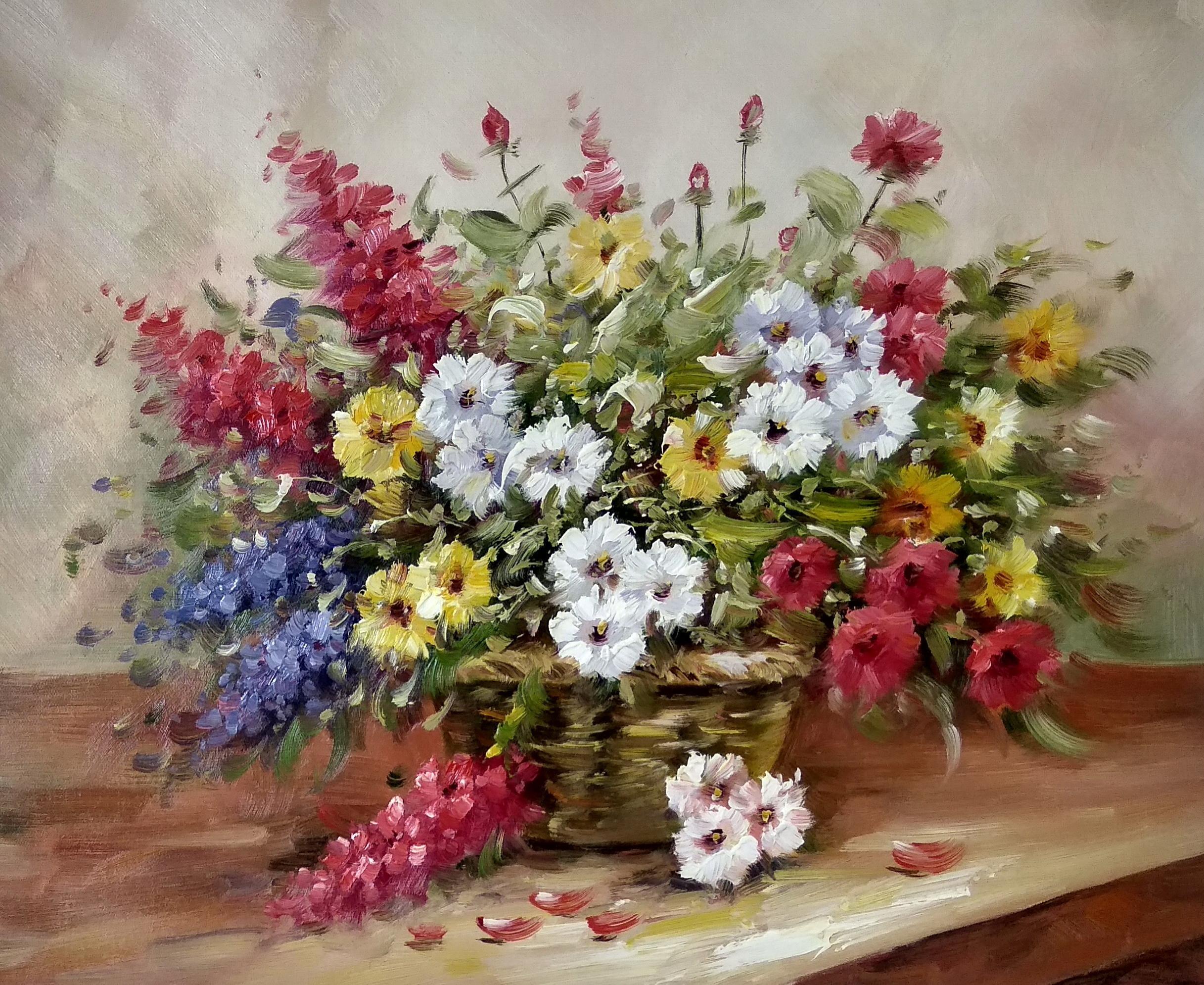 «Корзина с цветами» картина 50х60 арт.5ц292