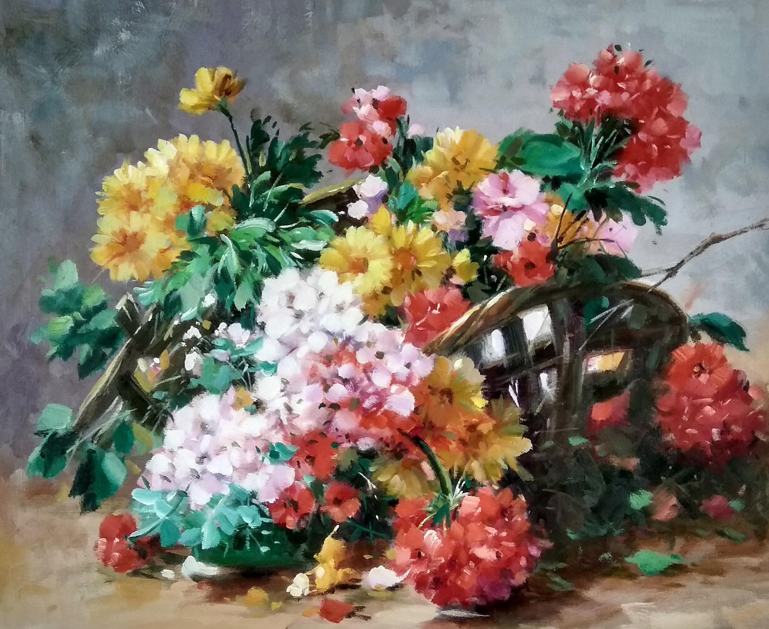«Цветы в плетёной корзинке» картина 50х60 арт.5ц301