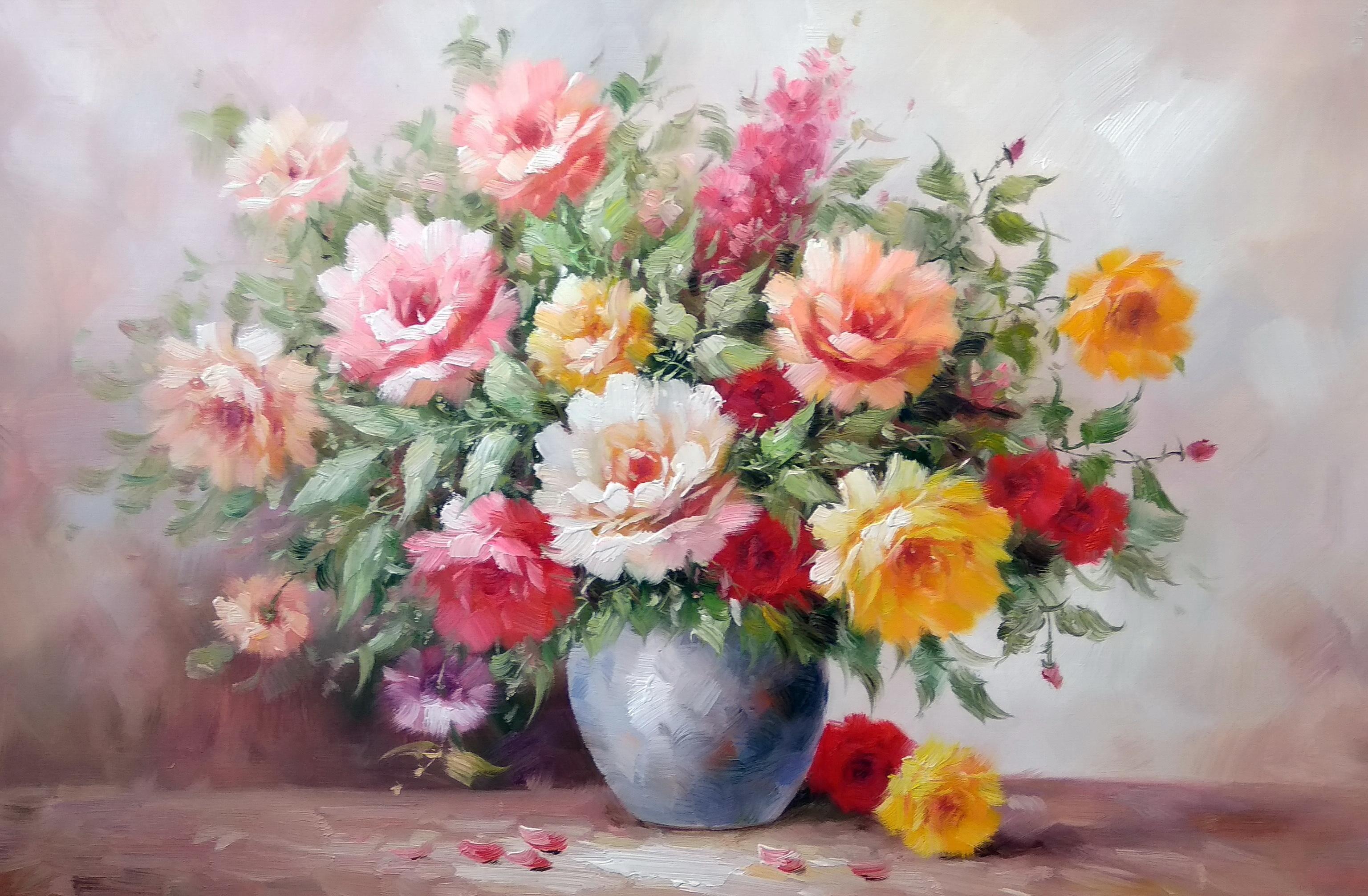 «Розы в вазе» Картина 60х90 арт. Ц003