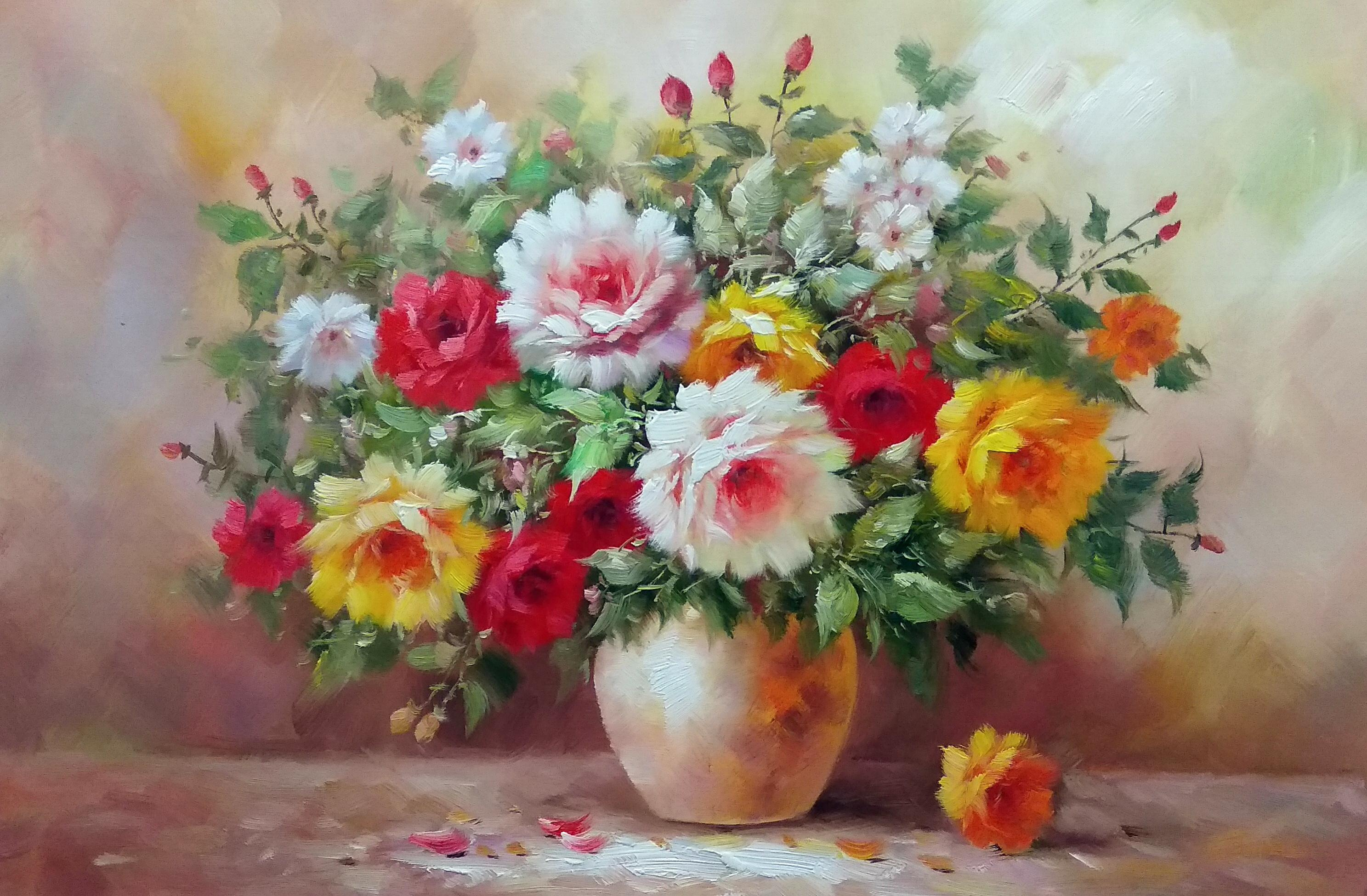 «Розы в вазе» Картина 60х90 арт. 9Ц004