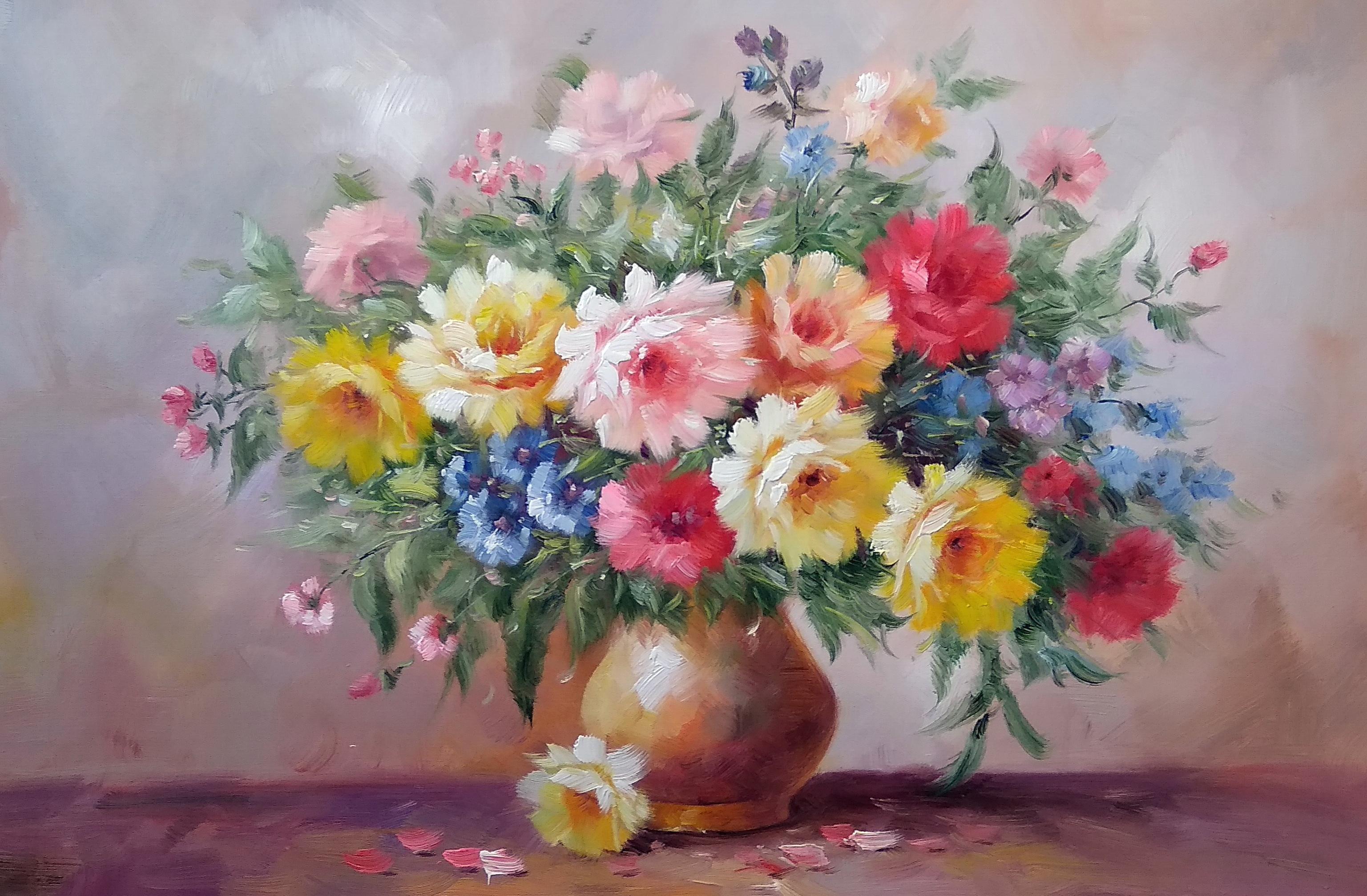 «Розы в вазе» Картина 60х90 арт. Ц005