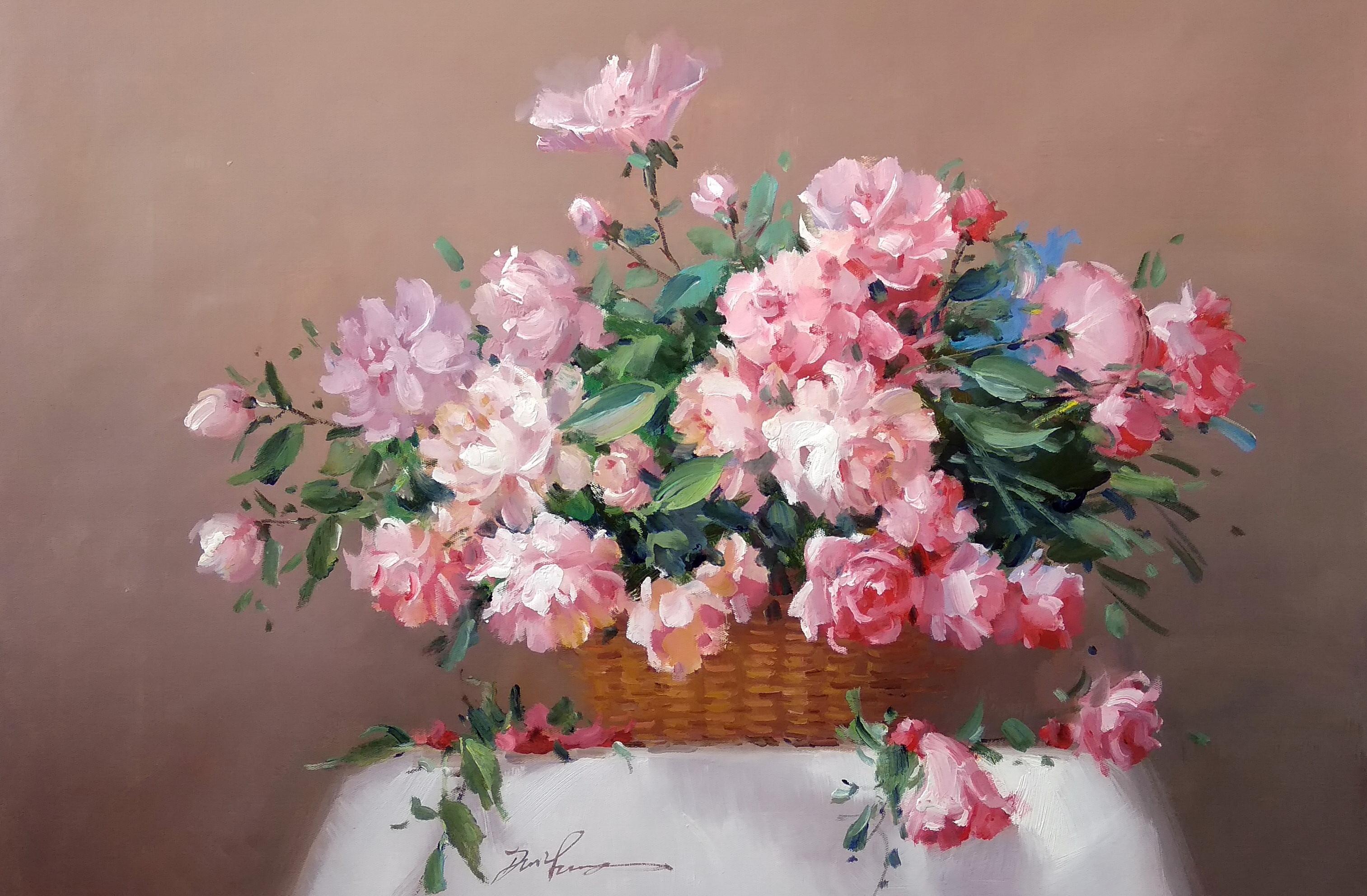 «Корзина цветов» Картина 60х90 арт. 9Ц010